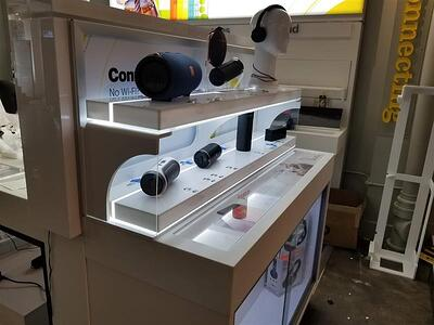 Display cases with lighting